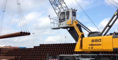 nieuwe Sennebogen 650 HMC kraan voor solines-stalen buizen