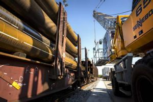 New private railway yard for transporting pipes and steel at Solines